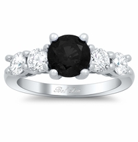 Black Diamond Five Stone Engagement Ring with Diamond Accents