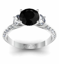 Black Diamond Knife Edge Three Stone Engagement Ring