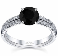 Black Diamond Milgrained Pave Engagement Ring