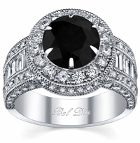 Black Diamond Round Halo Engagement Ring
