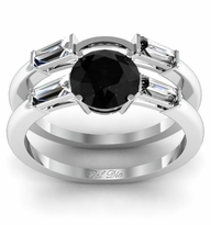 Black Diamond Three Stone Engagement Ring with Matching Band