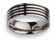 Black Enamel Inlay Titanium Ring High Polish Finish in 8mm