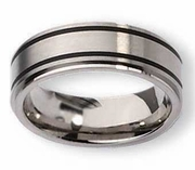 Black Inlay Titanium Ring  High and Matte Finish in 8mm