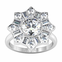 Blossom Bezel Halo Engagement Ring