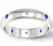 Blue Sapphire and Diamond Domed Landmark Eternity Band