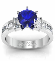 Blue Sapphire Channel Set Princess Engagement Setting