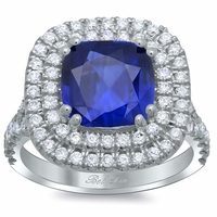 Blue Sapphire Cushion Double Halo Engagement Ring