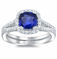 Blue Sapphire Cushion Double Shank Halo Engagement Ring