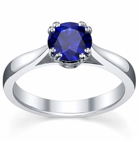Blue Sapphire Double Prong Tapered Solitaire