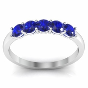 Blue Sapphire Five Stone Ring 0.50 cttw