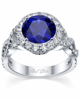 Blue Sapphire Halo with Twisted Shank