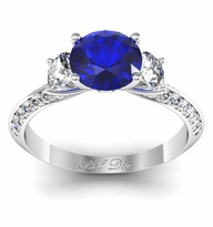 Blue Sapphire Knife Edge Three Stone Engagement Ring