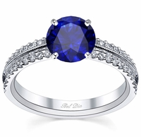 Blue Sapphire Pave Engagement Ring