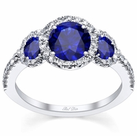 Blue Sapphire Three Stone Halo Engagement Ring