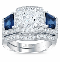 Blue Sapphire Trapezoid Halo Ring Bridal Set