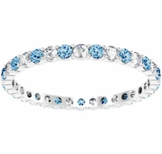 Blue Topaz and Diamond Eternity Ring 0.70 cttw