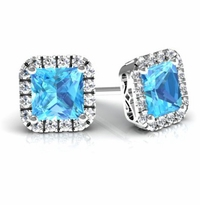 Blue Topaz Princess Halo Earrings