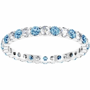 Blue Topaz Wedding Band with Diamonds