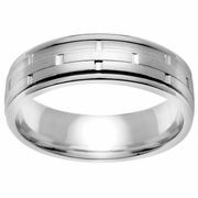 Brick Design Platinum Ring