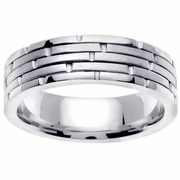 Brick Design Platinum Wedding Ring