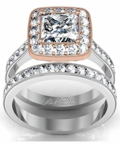 Bridal Set with Rose Gold Halo Engagement Ring