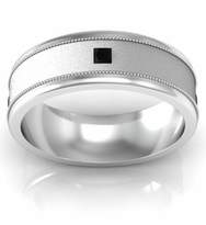 Brushed Center Princess Black Diamond Wedding Band with Milgrain