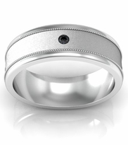 Brushed Center Round Black Diamond Wedding Band with Milgrain