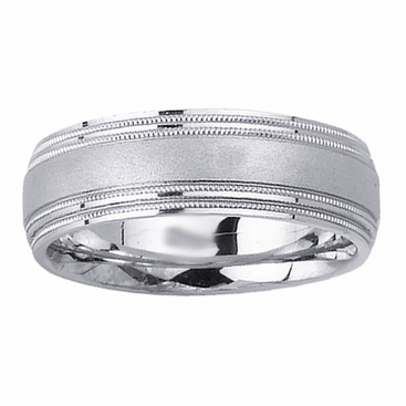 Brushed Mens Wedding Ring with Milgrain - click to enlarge