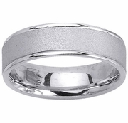 Brushed Platinum Mens Ring