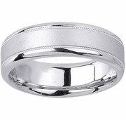 Brushed Platinum Ring for Men with Milgrain