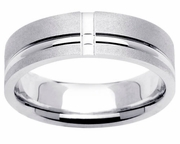 Brushed Platinum Ring with Grooves