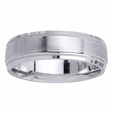 Brushed Platinum Ring with Milgrain - click to enlarge