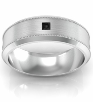 Brushed Princess Black Diamond Band with Milgrain and Beveled Edges
