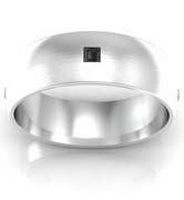 Brushed Princess Cut Black Diamond Domed Wedding Ring