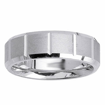 Brushed Wedding Ring with Beveled Edges and Grooves - click to enlarge