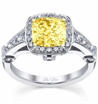 Canary Diamond Engagement Ring with Square Halo