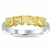 Canary Yellow Diamond Ring 5 Stone 1.00cttw