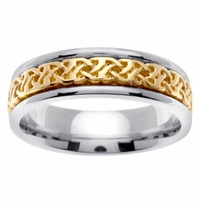 Celtic Knot Band in 6mm 14kt Two Tone Gold