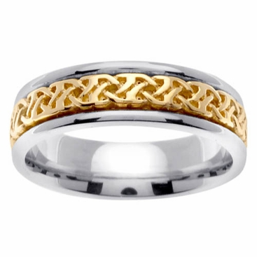 Celtic Knot Band in 6mm 14kt Two Tone Gold - click to enlarge