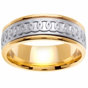 Celtic Platinum & 18kt Wedding Band in 8 mm Comfort Fit