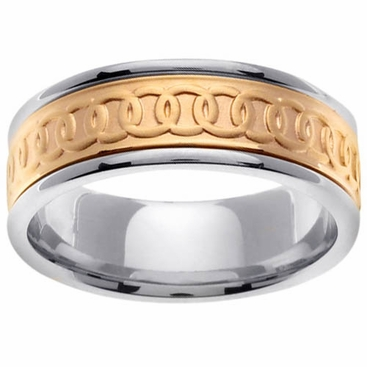 Celtic Platinum & 18kt Wedding Ring in 8mm Comfort Fit - click to enlarge