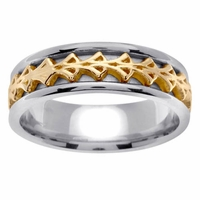 Celtic Wedding Ring in 7mm 14kt Two Tone Gold