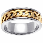 Chain Link Design Platinum & 18kt Wedding Ring in 7 mm Comfort Fit