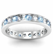 Channel Set Eternity Band with Round Aquamarines and Diamonds