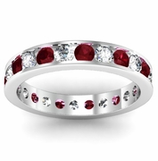Channel Set Eternity Band with Round Garnets and Diamonds