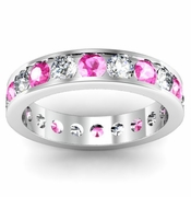 Channel Set Eternity Ring with Round Diamonds and Pink Sapphires