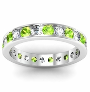 Channel Set Eternity Ring with Round Peridots and Diamonds