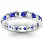 Channel Set Eternity Ring with Round Sapphires and Diamonds