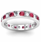 Channel Set Eternity Ring with Rubies and Diamonds