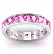 Channel Set Pink Sapphire Eternity Ring